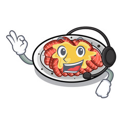 With headphone carpaccio in a character shape vector