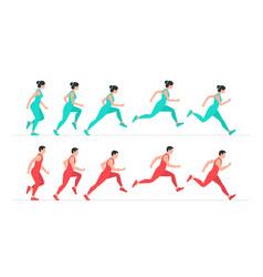 Woman and man run vector