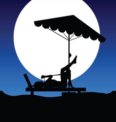 Woman on deckchair on moonlight vector