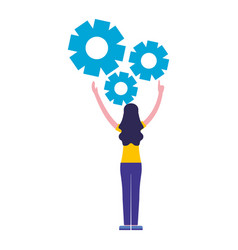 woman with gears settings work vector image
