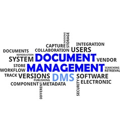 word cloud document management vector image