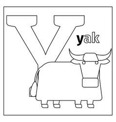 Yak letter Y coloring page vector image