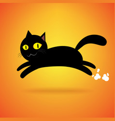 black cat jump isolated background happy vector image vector image