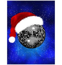 Christmas disco ball with Santa hat vector image vector image