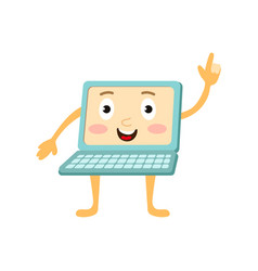flat funny laptop character points out vector image vector image
