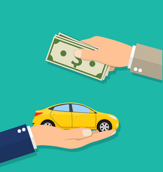 hand of businessman with money buying a car vector image vector image