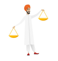 Hindu businessman holding balance scale vector