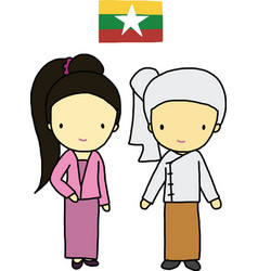Myanmar traditional costume vector image vector image