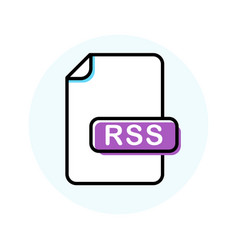 rss file format extension color line icon vector image