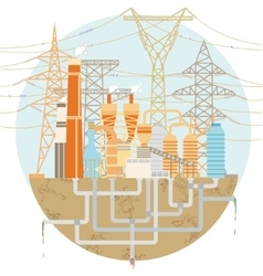 Schematic factory with high-voltage power lines vector image