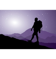 backpacker going up the mountain vector image vector image