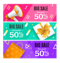 big sale banner card horizontal set vector image vector image