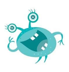 Cartoon Blue Microorganism Funny Smiling Germ vector image