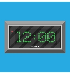 Modern digital clock with green digits vector image vector image