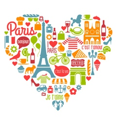 Paris France Icons Landmarks attractions vector image