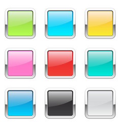 set of square buttons vector image