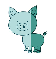 aquamarine hand drawn silhouette of pig vector image