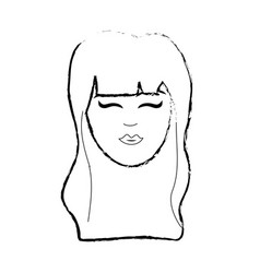 figure cute woman face with hairstyle vector image