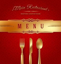 Menu cover with golden cutlery and decor vector image vector image