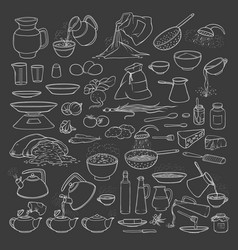sketch collection set chalk on blackboard vector image vector image