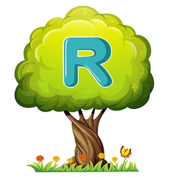 A tree with a letter R vector image