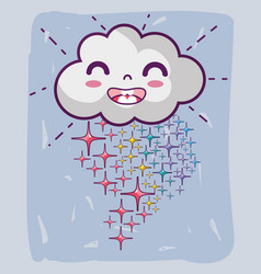 kawaii happy cloud with stars rainbow vector image