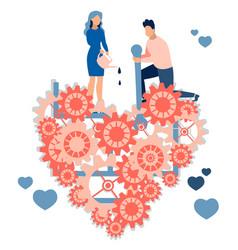 a loving couple former repairing a broken vector image