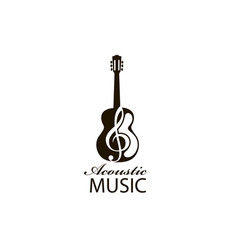 acoustic guitar emblem vector image