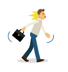 An angry man walking with a briefcase upset vector
