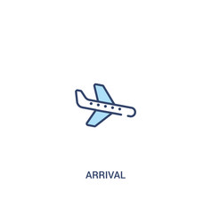Arrival concept 2 colored icon simple line vector