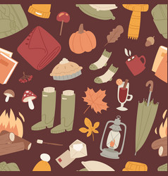 autumn items seamless pattern texture vector image
