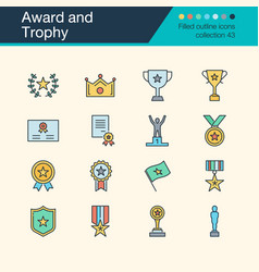 award and trophy icons filled outline design vector image