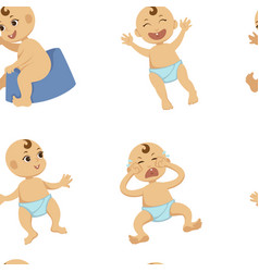 Baby toddler flat character seamless vector