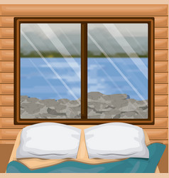 Background interior wooden cabin with bed and blur vector