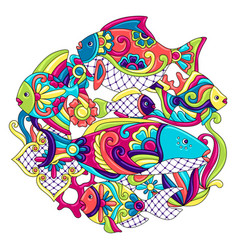 Background with fishes mexican ceramic cute naive vector