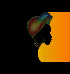 Banner beauty afro woman in african scarf turban vector