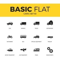 basic set car icons vector image