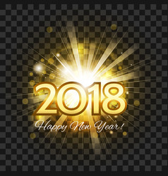 beautiful golden fireworks happy new year 2018 vector image