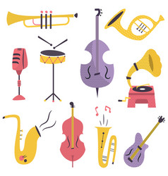 Big set of different musical instruments vector