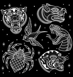 Black and white animal tattoos vector