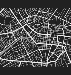 Black and white travel city map urban transport vector