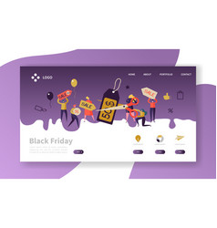 Black friday landing page template discount vector