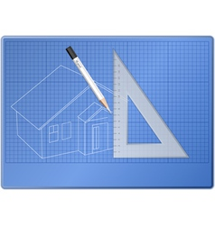 Board for drawing with pencil and triangle vector