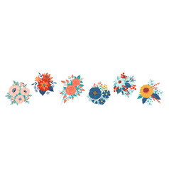 bouquet cartoon blossoming flowers and leaves vector image