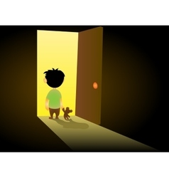 Boy In Dark Room vector image