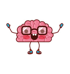 brain cartoon with glasses and happy expression in vector image