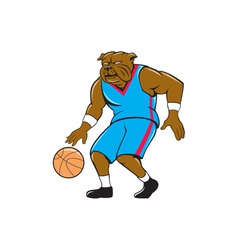 Bulldog Basketball Player Dribble Cartoon vector