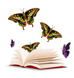 Butterfly and open book background image vector