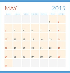 Calendar 2015 flat design template May Week starts vector image vector image