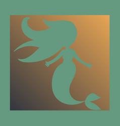 Cartoon beautiful little mermaid in a wreath sea vector
